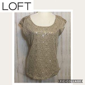 LOFT Cheetah Print Sequin Short Sleeve Tee